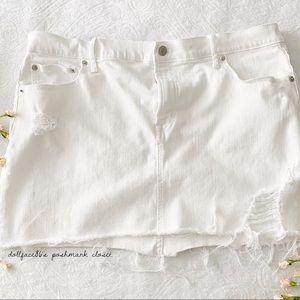 Gap Distressed White Jean Mini Skirt (Price Firm)